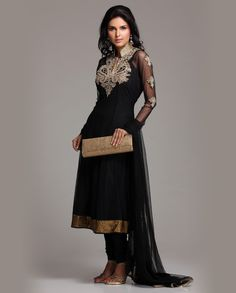 black net #anarkali with gold embroidery