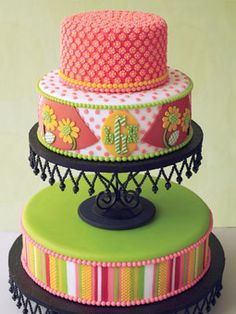 Pink, Green, and Orange Cake with Monogram and Stripes