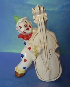 Old Polka Dot CLOWN with Musical Instrument Figural VASE figurine Decor Home Design Decor, Musical Instruments, Vases, Musicals, Polka Dots, Porcelain, Ceramics, Christmas Ornaments, Retro