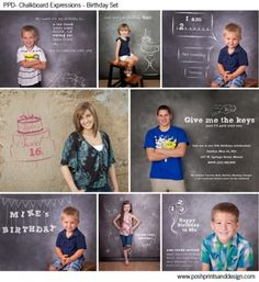 Chalkboard Expressions: Birthday  - Photoshop Template Overlays and Brushes