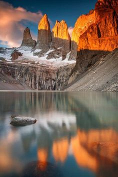Landscape - Reflection - Famous place in Chilean Patagonia for watching sunrise, Los Torres in Torres del Paine National Park. - Title 'Patagonia Sunrise'