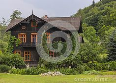 The old wooden house in the countryside.Near Krakow in Ojców. Poland