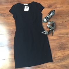 DVF black dress Pefect black dress! From the length, to the cap sleeves, to the pencil like design! No trades. Norma Sheath dress. Diane von Furstenberg Dresses