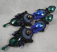 Aztec style luxurious swarovski soutache earrings emmerald, cobalt and black…