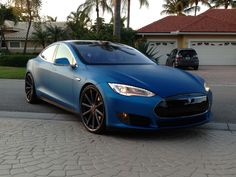 Tesla Model S with a vinyl wrap   #Tesla  www.FB.com/DevinHunterBiz
