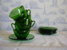 French set of 6 vintage coffee cups in green by MyNiftyBrocante, $48.00