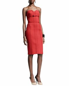 Strapless Bustier Dress with Bow, Rouge by Lanvin at Bergdorf Goodman.