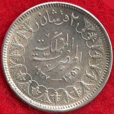 EGYPT - 2 PIASTRES - AH1356-1937 - 83.3% SILVER - 0.0750 ASW