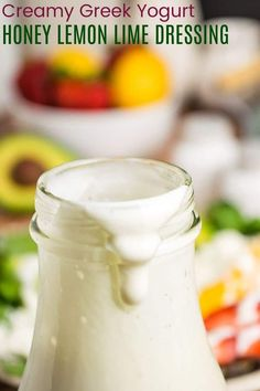 Creamy Lemon Lime Salad Dressing - the perfect hint of sweetness from honey and the creaminess of Greek yogurt, this sweet, tart, and tangy dressing will make those green salads even more delicious! Gluten Free Salad Dressing, Lime Salad Dressing, Salad Dressing Recipes, Sweet Salad Dressings, Yogurt Salad Dressings, Honey Lemon, Lemon Lime, Kale Chip Recipes, Kitchen