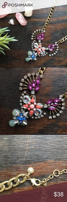 J. Crew•Statement Necklace Gorgeous bijoux & baubles! Sparkle, color, and an antiqued chain. Perfect with any ensemble! Will be packaged in a grey velvet jewelry bag for safe keeping. J. Crew Jewelry Necklaces