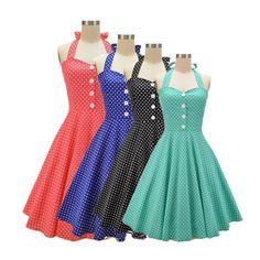 Amazon.com: HongyuTing Women's 50s Vintage Halter Polka Dot Rockabilly Picnic Party Dress: Clothing  https://www.amazon.com/gp/product/B0140JQMBC/ref=as_li_qf_sp_asin_il_tl?ie=UTF8&tag=rockaclothsto-20&camp=1789&creative=9325&linkCode=as2&creativeASIN=B0140JQMBC&linkId=80bedc021d6cdf9ad686fbe960249b13