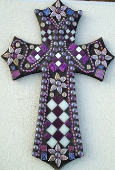 "#Mosaic Cross - ""Purple Passion""  via Etsy.  'Cross' my heart  #2dayslook  #fashion #nice #new #cross #myheart  www.2dayslook.com"