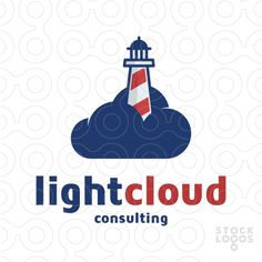 Exclusive Customizable Logo For Sale: Light Cloud Consulting | StockLogos.com #cloud #lighthouse #pharos #beacon #logo #design #mark #icon #symbol #consulting #sea #sky #navigation #nautical