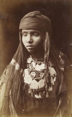 Africa | Bedouin woman with long braided hair, photographed in Egypt. ca 1860s | Photo taken by Schier & Schoefft. GRI Digital Collection