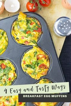 Breakfast is will be amazing with this breakfast egg muffin recipe from HurrytheFoodUp. There are four easy, tasty ways to make these egg muffins, and they are all low carb and vegetarian! This protein packed breakfast idea is great for breakfast on the go that will keep you feeling full until lunch. They are great for making ahead of time, and good hot or cold! #muffins #breakfast #healthy #vegetarian #recipe #easy #lowcarb
