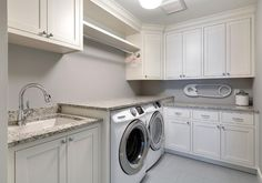 L-shaped Laundry Room. L-shaped Laundry Room Cabinet Design. L-shaped Laundry Ro. L-shaped Laundry Room. L-shaped Laundry Room Cabinet Design. L-shaped Laundry Ro… White Laundry Rooms, Modern Laundry Rooms, Laundry Room Layouts, Laundry Room Design, Grey Granite Countertops, Cabinets And Countertops, Gray Granite, Kitchen Cabinets Grey And White, White Shaker Cabinets
