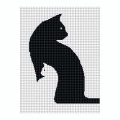 Free Crochet Cat Afghan Pattern   COZYCONCEPTS CAT KITTEN SILHOUETTE CROCHET AFGHAN PATTERN GRAPH by ...