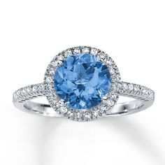 Blue Topaz Ring Round-Cut with Diamonds 10K White Gold