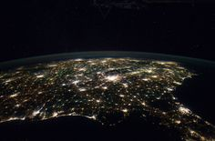 This astronaut photograph from the International Space Station highlights the southeastern part of the Southern United States at night, including the eastern Gulf of Mexico and lower Atlantic Seaboard states.