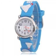 Cute WL Cartoon Children badminton Band Quartz Wrist Watch Blue