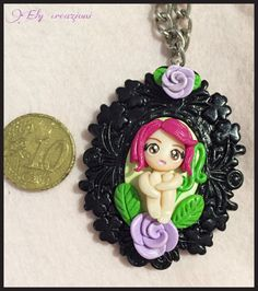 Cammeo Fimo Doll Necklace Polymer Clay di AngolinoCreativoEly