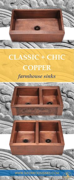 "Classic + chic. A copper farmhouse sink will make a big statement in your kitchen remodel. Find the perfect one with free shipping: https://showroomsinks.com/collections/copper-farmhouse-sinks. Copper is naturally anti-bacterial and stain resistant. Copper has a ""living finish"" that will patina over time for a rich and attractive look."