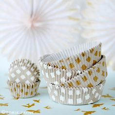 Gold check baking cases on Torie Jayne Cupcake Cases, Baking Cups, Decorative Bowls, Candle Holders, Stationery, Peach, Sparkle, Mint, Candles