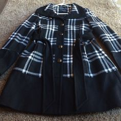 Lowest price Black rivet coat Beautiful plaid black rivet coat. Brand new only worn once. Just in time for fall!! Bought at Wilsons leather. Black rivet Jackets & Coats