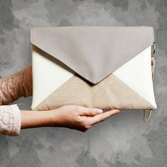 Clutch bag envelope Letter beige ivory latte vegan faux leather synthetic suede…
