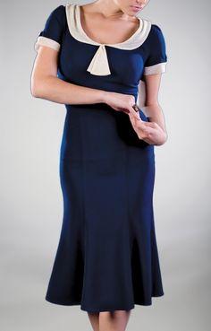 ~1930's style dress in Midnight Blue, Scoop Neckline