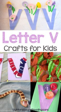 Letter V Crafts Letter V Crafts for preschool or kindergarten - Fun, easy and educational! Students will have fun learning and making these fun crafts! Teaching Letter Sounds, Teaching Letters, Preschool Letters, Alphabet Activities, Craft Activities For Kids, Preschool Crafts, Fun Crafts, Crafts For Kids, Toddler Activities
