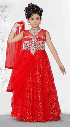 Bright Red Brocade Readymade Kids Gown DT5016A29