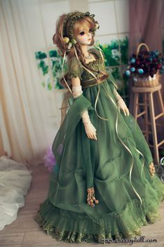 CherryDoll pale green and gold empire bjd doll dress blonde hair