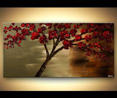 ORIGINAL Abstract Contemporary Red Blooming Tree Acrylic Painting Heavy Palette Knife Texture by Osnat Ready to Hang