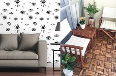 Install an accent wall with temporary wallpaper tiles in cool patterns you'd be scared to use in actual wallpaper. | 28 Cheap Ways To Makeover Your Home In 2017