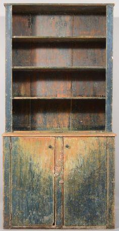Primitive Softwood Single-part Step-back Cupboard