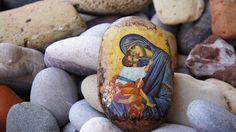 Theotokos icon on rock