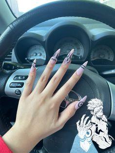 Naruto Nails, Anime Nails, Acrylic Nails Coffin Pink, Almond Acrylic Nails, Dope Nails, Swag Nails, Acylic Nails, Grunge Nails, Dream Nails