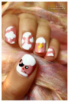Pokemon Flaaffy Nail Art