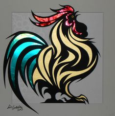 Rooster in red, gold and green