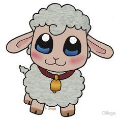 Shop Cute Sheep photo sculpture created by Olluga. Kawaii Drawings, Cartoon Drawings, Easy Drawings, Animal Drawings, Lamb Drawing, Sheep Drawing, Images Eid Mubarak, Sheep Illustration, Baby Animals