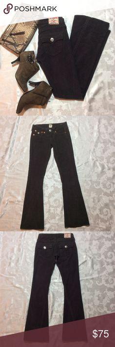 "True Religion Joey Flared Corduroy Jeans True Religion Joey Flared Corduroy Jeans in dark gray.  EUC. Size 25. 28"" waist. 32"" inseam.   7"" front rise. 10"" back rise.  Flare flat across hem is 9.5"" True Religion Jeans Flare & Wide Leg"