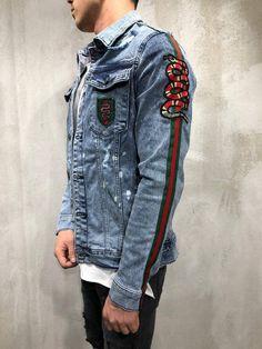 a2b88d0b990 Denim Jacket Snake Patch Embroidery- Light