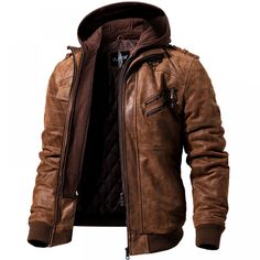 0b8f44994ba3 Men s Real Leather Motorcycle jacket Removable Hood winter coat Men Warm  Genuine Leather jackets