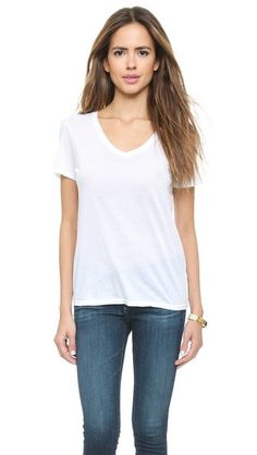 I need a high quality white tee that goes with everything. No pockets please :)