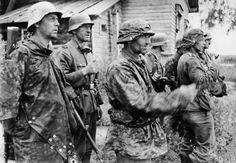 Voluntarios noregos de las Waffen SS en el Frente del Este, 1942.