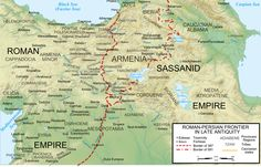 Map of the Roman-Persian frontier showing Maurice's gains after he reinstated Sassanid king Khosrau II on the throne in 591 Ancient Rome, Ancient History, Parthian Empire, Sassanid, The Last Kingdom, Historical Maps, Cartography, Albania, Roman Empire