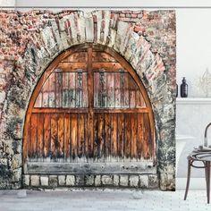 Brick Stone Oval Gate Shower Curtain – joocarhome Rod Pocket Curtains, Panel Curtains, Curtain Panels, Rustic Shower Curtains, Curtain Store, Bathroom Decor Sets, Window Drapes, Brick And Stone