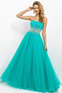 Brightly Colored Prom Dress Scalloped Neckline Princess Floor Length Beaded Tulle. I want thissss!