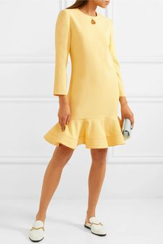 Lemon crepe Concealed hook and zip fastening at back 100% polyester; lining: 100% silk Dry clean Imported